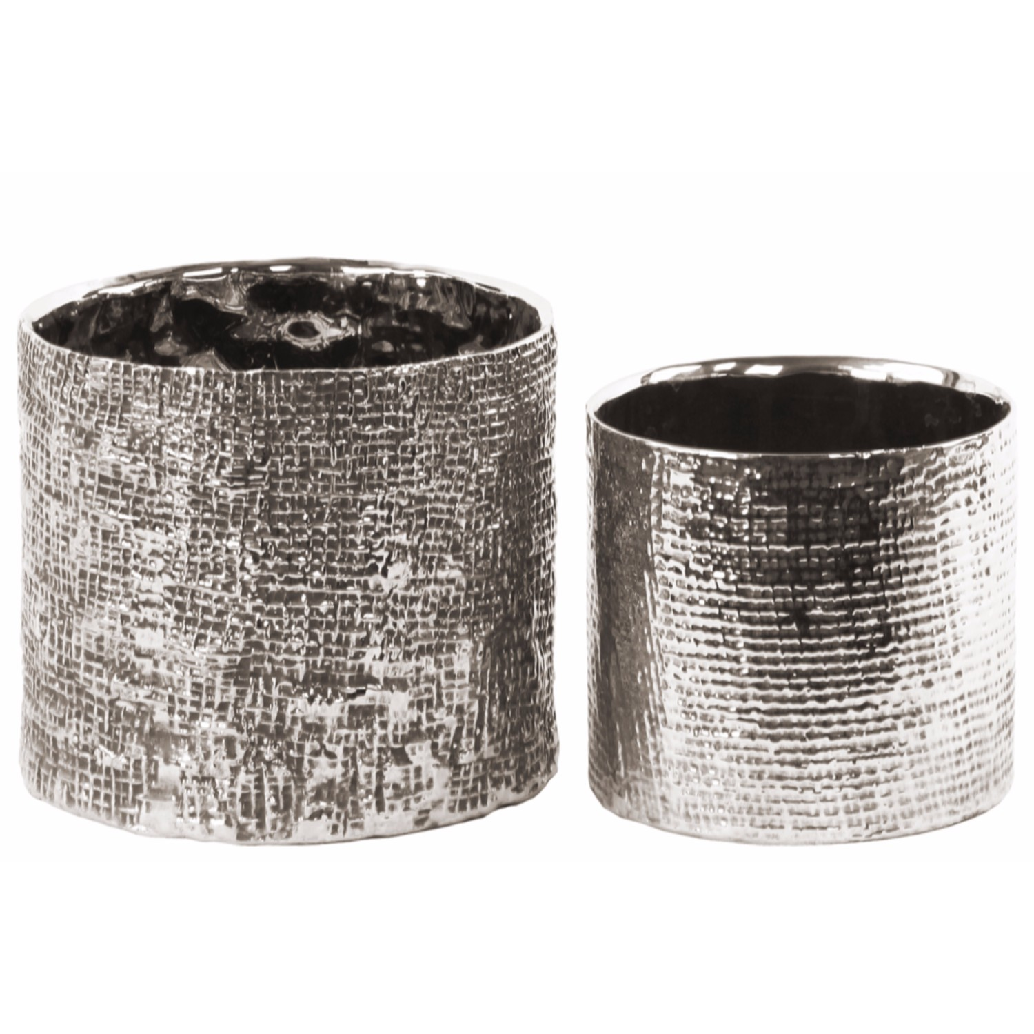 Benzara Tall Round Planter with Engraved Crises Cross Design Set of 2 Silver